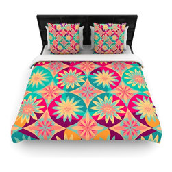 "Kess InHouse - Nika Martinez ""Happy Flowers"" Floral Abstract Fleece Duvet Cover (King, 104"" x 8 - You can curate your bedroom and turn your down comforter, UP! You're about to dream and WAKE in color with this uber stylish focal point of your bedroom with this duvet cover! Crafted at the click of your mouse, this duvet cover is not only personal and inspiring but super soft. Created out of microfiber material that is delectable, our duvets are ultra comfortable and beyond soft. Get up on the right side of the bed, or the left, this duvet cover will look good from every angle."