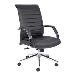 "Boss Chairs - Boss Chairs Boss Executive High Back Ribbed Chair - Executive high back styling. Beautifully upholstered in black Caressoft plus. Metal arms with padded armrests. Adjustable tilt tension control. Pneumatic gas lift seat height adjustment. Large 27"" Chrome base. Hooded double wheel casters."