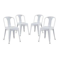 """LexMod - Reception Dining Side Chair Set of 4 in White - Reception Dining Side Chair Set of 4 in White - A striking dash of flair accompanies the Reception Modern Dining Chair. The sloping electric-plated metal design recalibrates your room for style as you lean back with dilettante flair. Tilted to perfection, and supported by sleek and sturdy legs, grab your newspaper or beverage of choice and begin each moment anew. Set Includes: Four - Reception Modern Dining Chair Modern Dining Chair, Electric-Plated Metal, No Assembly Required, Non-Marking Feet Caps Overall Product Dimensions: 25""""L x 19""""W x 45.5""""H - Mid Century Modern Furniture."""