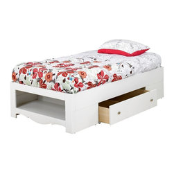 Nexera - Nexera Dixie-Pixel 1-Drawer Twin Size Storage Bed - Dixie/Pixel 1-Drawer Twin Size Bed from Nexera features a unique drawer on casters accessible from each side of the bed that can be completely pulled out for optimal access to beddings, toys, etc. stored under the bed. The bed also features a decorative open storage section at the foot of the bed where you can store baskets, shoes, stuffed animals and much more. The bed can be paired with Dixie/Pixel Twin Size Storage Headboards for additional storage and do not require a box spring. Dixie/Pixel Collection is the perfect bedroom suite for your little princess. It is offered in a rich textured lacquer and melamine finish with metal handles, rounded girly construction details and generous storage space for all her treasures.