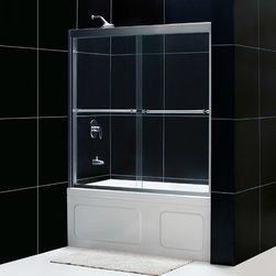 """Dreamline - Duet 56 to 59"""" Frameless xpass Sliding Tub Door, Clear 5/16"""" Glass Door - The Duet tub door combines high quality materials with a sleek frameless design for an amazing value. The bypass shower doors slide effortlessly on perfectly engineered guide rails allowing entry into the shower from either side. For an easy installation the tub door offers a total of 1 in. in out-of-plumb adjustments, while the top and bottom guide rails may be trimmed down up to 4 in. in width."""