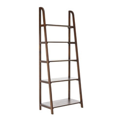 Safavieh - Devona Etegere - Inspired by the classic library ladder, the Devona has a contemporary A-line profile with five shelves that increase to a slim 15.9 inches at the base.  Display favorite photos, keepsakes, books and more on this clean transitional piece crafted of pine in medium oak finish.