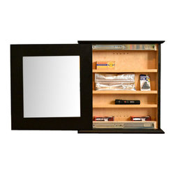 """Stealth Furniture, Inc. - Secret Compartment Mirror Type 1, Black Oak, Wireless Lock - Painted Black Oak with a wireless lock and key pad...This inconspicuous and beautifully crafted Secret Compartment Mirror is the perfect hiding place for the entry way or bedroom. Sold with adhesive magnetic tabs that you can place anywhere (Helps to keep your metal items secured where you want them). Each shelf is adjustable and also has a 1/4"""" lip to prevent things from rolling or dropping out... We have designed this mirror to be reversible- mount it one way to open it left or mount it flipped over to have it open right."""