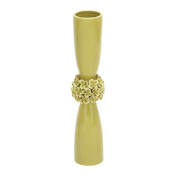 "Benzara - Trendy Classic Ceramic Hourglass Shaped Light Green Vase - Trendy classic ceramic hourglass shaped light green vase. Ideal to create a stunning focal point in any area of your home, this ceramic vase will shine with a luxurious glimmer, when placed on the display shelf or accent table of your living room. It comes with the following dimensions 4"" W x 4"" D x 21"" H."