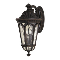 Murray Feiss - Murray Feiss Regent Court Outdoor Wall Mount Light Fixture in Walnut - Shown in picture: Regent Court Outdoor Lantern in Walnut finish with Blown clear water glass shade