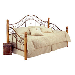 "Hillsdale Furniture - Hillsdale San Marco Daybed - A soft combination of an elegant beveled edge, square wood post and stylish metal bed panels framed in 1"" square tubing finished in a unique brown copper finish make this daybed an absolute winner for any bedroom. Finish: brown copper with light rust pine finished posts."