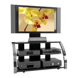 Sonax - Sonax Milan 3-in-1 Design 52-inch HD TV Stand with Mount in Metal Chrome Finish - Sonax - TV Stands - ML1454 - Embrace versatility and ingenuity in a distinctive 3-in-1 design from the Milan Collection. The ML-1454 liberates your design creativity to allow you to pick your style: a wall mounted TV a back brace swivel mount or a perched television with an extra TV mount. Nesting your precious components with necessary air flow and cable management promotes electronic longevity. The ML-1454 stands out with beautiful gun metal uprights. This TV Stand accommodates most HD TVs up to 52 inch. Bring home this contemporary furniture by Sonax proudly built in North America. Features: