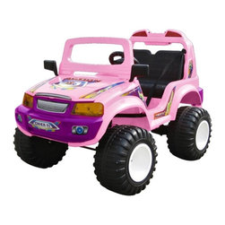 Jet Runner - Jet Runner Off Roader SUV Battery Powered Riding Toy - CT-885-PU - Shop for Tricycles and Riding Toys from Hayneedle.com! For the kids who don't plan on settling down just because they turned 5 this heavy-duty Off-Roader Riding Toy has everything needed to handle everything your backyard or local park can throw at it. And should it run across something it cannot pass (which may happen) there is always the reverse switch. With a top speed of 5 mph you'll easily keep up on the sidewalk or in the grass. This model also features a windshield side view mirrors music button headlight forward/reverse switch high/low switch and a seat belt. Anything tougher and they'd need a driver's license. Weight capacity: 110 pounds Weight: 59 pounds Two 6V DC motors Includes 12V charger; charges in about 10 hours Recommended for children 5 to 9 years old