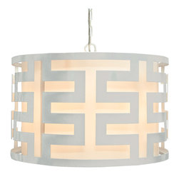 """Worlds Away - Worlds Away Hicks White Lacquer Greek Key Pendant - The modern Worlds Away Hicks pendant exudes contemporary geometric allure. A bold white lacquer finish accents the round light fixture's compelling Greek key design. 24"""" Dia x 15""""H; White lacquer; White interior shade; Includes canopy and chain; Accepts one 60W bulb (not included)"""