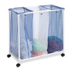 "Honey Can Do - 3 Bag Mesh Laundry Sorter - 3 Bin Mesh Laundry Sorter, PVC and mesh construction. 4 -1.5"" black plastic casters. White frame, 2 blue mesh bags, 1 white mesh bag, mesh bottom shelf. No tool assembly. 30.5 in. H x 30.5 in. W x 16 in. D"