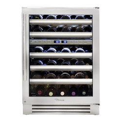 """True Professional Series 24"""" Dual Zone Wine Cabinet - True's dual-zone wine storage system has been designed to preserve your favorite vintage. Two independent zones allow for complete flexibility with a temperature range from 40F to 65F. Equipped with vibration-dampening racks that cradle up to 45 bottles ensures the ideal environment for your collection. Patented TriLumina LED lighting gently illuminates your wine and allows you to choose from white, amber, or blue. Discover the most versatile wine storage system."""
