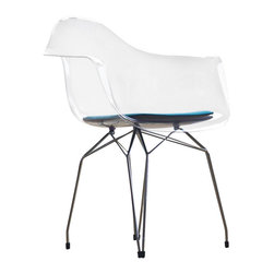 Kubikoff - Diamond Armchair, Clear, Turquoise Seat Pad, Black Legs - Diamond Armchair