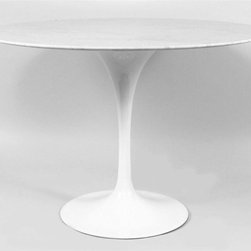 Control Brand - Tulip Side Table (Large) - Choose Size: LargeRound polished marble top. Aluminum pedestal base. White gloss color. Small: 35.88 in. Dia. x 28.38 in. H (114 lbs.). Large: 42.13 in. Dia. x 28.38 in. H (140.8 lbs.)This beautiful marble side table is inspired by furniture designs from the 50's. This modern table has a solid marble top and white glossed tulip pedestal base, the perfect piece for your dining room. Elliptical first grade carrara style marble top marble needs to be sealed on a regular basis as well as first use. This item is a high quality reproduction of the original. With the mid point of the last century came huge advances in material technology and manufacturing processes, new plastics, resins and fiberglass could be mass produced quickly, efficiently and with consistent results. These developments provided exciting opportunity in many areas; not least of all for furniture design and prompted a new era of industrial design. In 1956 Eero Saarinen designed a complimentary range of tables which he named the Tulip range because of the slender, elegant stem like pedestals and organic shapes that typified the pieces. As with his namesake Eero Aarnios' designs the experimental use of materials and minimalist forms are often considered to be space age and their appeal has outlived the period in history from which they originated.