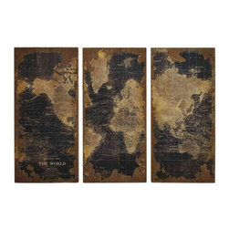 UMA - High Design Vintage World Map in Wood Set of 3 - A wood wall plaque of a vintage world map, circa 1922, as depicted by Stanford, renowned maker of world maps.