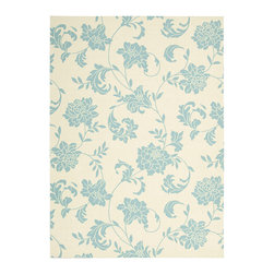 """Nourison - Nourison Home & Garden RS014 5'3"""" x 7'5"""" Ivory Area Rug 11216 - Like melody in motion, delicate arabesques create a symphony of floral elegance. Gorgeous duotone effect features French Blue blossoms dancing on a field of Classic Ivory. Lovely to look at, soft underfoot and a pleasure in any room, indoors or out."""