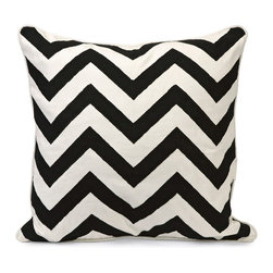 Chevron Black and White Embroidered Pillow - *Instill a vibrant energy with this bold, graphic statement pillow in contrasting Black and white chevron pattern.