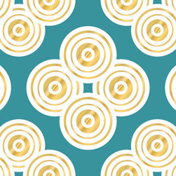 "WallPops - Jonathan Adler Elephant Paisley Stripe Wall Decals - A glistening gold design beyond a beautiful turquoise backdrop, Elephant Paisley WallPops by Jonathan Adler are fun and pleasing. These designer wall decals bring a bold and elegant pattern to walls, adding elegance and splendor. Stripes are 6.5"" wide x 12' long and come one to a pack. WallPops are always repositionable and removable."