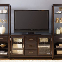 Liberty Furniture - Caroline Entertainment Center - Beaded molding accents. Warranty: One year. Made from select hardwoods and birch veneers. Espresso stain finishPier:. Adjustable removable shelves. Glass shelves: 18 in. W x 13 in. D x 40 in. H. Bottom side shelves: 18 in. W x 12 in. D x 17 in. H. Overall: 22 in. W x 14 in. D x 76 in. H (72 lbs.)TV stand:. Etched glass doors. Two adjustable removable shelves. Wire management provisions. Two adjustable dividers in drawers. Full stained interior drawers. Full extension metal side drawer glides. Satin nickel bar pull hardware. French dovetail construction. Shelves behind doors: 18 in. W x 16.5 in. D x 26.5 in. H. Overall: 60 in. W x 19 in. D x 34 in. H (192 lbs.)