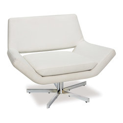 """Office Star - Office Star Avenue Six Yield 40"""" Wide Chair in White Faux Leather - The Yield collection includes a 360 Degree swivel chair in a choice of two sizes as well as a coordinated ottoman and two-seat loveseat. As a stand-alone chair, complete room or reception area ensemble, the distinct low profile design of the Yield collection will appease those who seek a high level of style and comfort..."""