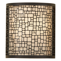 Murray Feiss - Murray Feiss Joplin Contemporary Wall Sconce X-BAL4651BW - This Murray Feiss wall sconce features a clean shape with plenty of intricate details for added visual interest. From the Joplin Collection, the beige silk shade provides a clean backdrop for the cobblestone pattern of the metal overlay, which has been finished in a dark contrasting Light Antique Bronze finish.