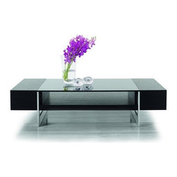 Modern Rectangular Black Oak Coffee Table with Black Glass Top Plano - Features:
