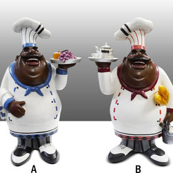 Black Chef Kitchen Figure With Wine Table Art Decor Complete Set - Beautiful Black Chef Figure Kitchen Decor.