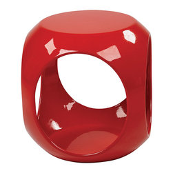 Office Star - Office Star Avenue Six Red Slick Cube - High gloss, molded table with internal storage area for magazines, books and more. The avenue six Slick cube table offers the latest look in home fashion. Available in a variety of colors.