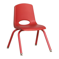 "Ecr4kids - Ecr4Kids 14"" Stackable School Chair - Matching Legs Red Pack Of 6 - Innovative school stack chair features molded seat with vented back has reinforced ribbing in back and under seat for strength. Frame features 16-gauge tubular steel legs and steel lower back support with color-coordinated finish. Full MIG welded frame. No penetration through the seat surface. SuperGlide composite ball glides for durability and protection on hard floors and carpet. Easy to clean and sanitize."