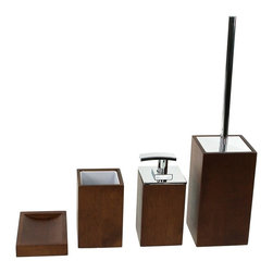 Gedy - Wooden 4 Piece Brown Bathroom Accessory Set, - Trendy brown bathroom accessory set made from wood. Includes soap dish, toothbrush holder, toiletbrush holder, and soap dispenser. Manufactured in Italy. Part of the Gedy Cubico Wood collection. Available in brown wood finish. Made from wood. From the Gedy Cubico Wood collection. Designed and built in Italy. Included in set:. Soap dish Gedy PA11-31. Toothbrush holder Gedy PA98-31. Toiletbrush holder Gedy PA33-31. Soap dispenser Gedy PA81-31.