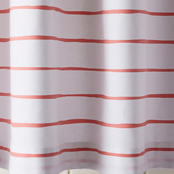 """Serena & Lily - Serena & Lily Jamesport Stripe Shower Curtain - Preppy and playful, our loosened-up version of a classic awning stripe gets a fun spritz of color for the bath. We left the lines a bit wavy so they look hand-drawn on a backdrop of white.  100% cotton canvas.  Machine wash.  Portugal.  72"""" SQ.  Shower curtain liner recommended; sold separately."""
