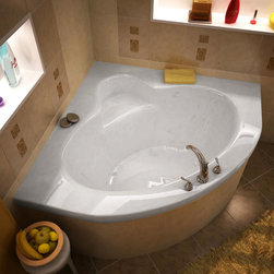 Venzi - Venzi Esta 60 x 60 Corner Soaking Bathtub - The Esta bathtub collection features a series of corner oval-opening bathtubs, easily fitting two adults. Molded-in seat is strategically placed across the tub filler to ensure luxury and comfort.