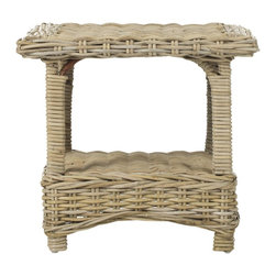 Safavieh - Bowen Side Table - Natural Unfinished - In the charming Bowen Side Table, a classic country form is updated for transitional interiors in a combination of kubu wicker and natural rattan. Entirely wrapped and woven with rope detail edges, this accent piece is ideal beside a chair or sofa.