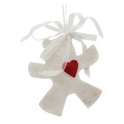 Kouboo - Holiday Tree Ornament Bear with Heart in Natural Capiz Seashell, Set of 2, Small - Offered as a set of 2.