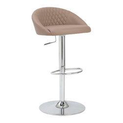 Eurostyle - Eurostyle Sinue Adjustable Bar-Counter Stool in White & Chrome - Adjustable Bar-Counter Stool in White & Chrome belongs to Sinue Collection by Eurostyle This is just a wonderfully unique shape. The beautifully curved backrest gives more than enough support and the center section boasts a luxurious quilted area for added comfort. Bar/ Counter Stool (1)