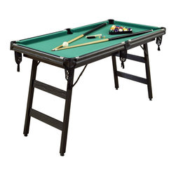 Home Styles - Home Styles The Hot Shot 5-Foot Pool Table - Home Styles - Multi-Game Tables - 595498 - Bring on the competition with this classic game of Billiards! The Hot Shot 5-Foot Pool Table is the perfect set for a player of any skill set.  Table is constructed from engineered wood and plywood frames in a black vinyl wrap finish.  Features include rubber bumpers green felt top cover woven drop-style nylon pockets and levelers on the feet.  The space saving design allows for the legs to easily fold and store anywhere.  This set includes two cues full-sized set of balls brush chalk and triangle rack.  Whether youre a pro or an amateur dont miss out of this versatile real action play pool table!