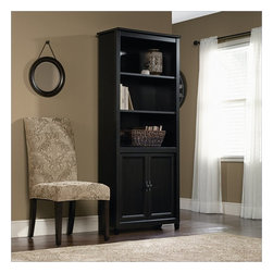 Sauder - Sauder Edge Water Library Bookcase in Estate Black - Sauder - Bookcases - 409046 - The clean lines of the Edge Water Collection bring a new spin to cottage style. In keeping with the relaxed sophistication of the collection, each piece is detailed with solid wood sculpted tapered feet, distinctive kick rails, elegant dark Spanish hardware and shapely soft framed doors and drawers. Finished in an elegant Estate Black finish with a warm gold undertone, and designed with a great attention to modern function and storage, Edge Water creates a relaxed oasis that still serves today's mobile technology lifestyle.