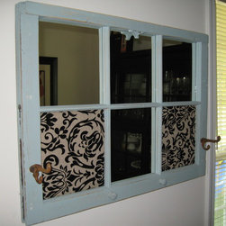 """Vintage Conversions aka """"Up-cycled"""""""" - This Vintage Sash window has been given a new life and is ready to hang indoors for the next 20 years, complete with hooks for a jacket, scarf, or even a set of keys.  Fabric push pin panels and a few mirrors makes this piece a perfect addition to your entry way or mud-room."""
