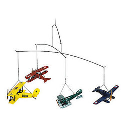 "Flight Mobile 1920 - The flight mobile 1920 measures 26"" x 23"" x 12"". It is light as air, colorful  highly detailed. It features four airplanes forever flying through the air. It comes gift packaged."