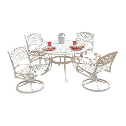 "Home Styles - Home Styles Biscayne 5PC 48"" Dining Table Set - Home Styles - Dining Sets - 5552325C - Home Styles Biscayne 5PC Set includes 48"" inch Round Outdoor Dining Table and Four Swivel Chairs with Sunbrella Green Apple fabric Cushions. Set is constructed of cast aluminum with a White finish. Features include powder coat finish sealed with a clear coat to protect finish attractively patterned table top has center opening to accommodate umbrellas and nylon glides on all legs. Table Size: 48w 48d 30h. Chair Size: 24.4w 22d 33.46h. Seat height 16h. Stainless steel hardware."