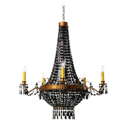 Appel Chandelier- Single Light - Flat diamonds of black are splendidly strung as links in the glimmering chain of the Appel Chandelier.  These defined shapes drape from the crown of the chandelier to the ring of burnished gold that supports its electric candles, which themselves are accented with light, swaying draperies and dramatic drops of black.  A beautifully warm expression of the traditional light source, the Appel Chandelier will bring both drama and invitation to your home.