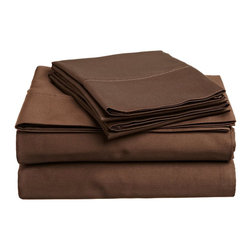 300 Thread Count Egyptian Cotton Twin XL Mocha Solid Sheet Set - Experience true 100% Egyptian Cotton luxury when you sleep on these 300 Thread Count sheets.  An affordable luxury that drapes beautifully on the bed. This set includes One Flat Sheet 66x96, One Fitted Sheet 38x80, and One Pillowcase 20x30.