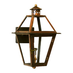 "Gas Light Pro LLC - French Quarter Copper Gas Lantern, Black, 24"", Natural Gas - 24"" x 14"" x 14""  Traditional French Quarter Gas or Electric Lantern Available in 15"", 18"", 21"", 24"", 28"", 35"", and 44"".  Available in Natural gas or Propane(LP).  Comes in our Brown Oxidation and is also available in Bronze(Black), Green Verdigris, and Powder Coated Black."