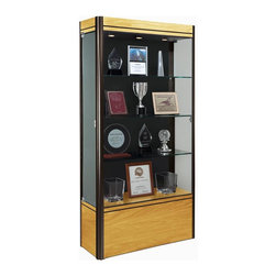 Waddell - Contempo Medium Floor Display Case (Light Maple and Satin with Black Panel) - The Waddell Contempo Display Cases bring a modern style into your space. Design surrounds a clean, seamless front to parade your prized possessions in high style.