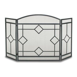 Pilgrim Home & Hearth - NF Art Nouveaq 3 Panel Folding - Pilgrim Home & Hearth Napa Forge Art Nouveau Fireplace Screen with black finish; Classic diamond design across 3 panels; 10 Year Limited Warranty.  This item cannot be shipped to APO/FPO addresses. Please accept our apologies.