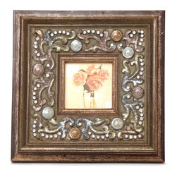"""Traders and Company - Enamel Inlaid 3x3 Wood Picture Frame w/ Jewels, 8""""Lx1""""Wx8""""H - Vanderbilt - Crafted from wood and given a classically antiqued look, each frame is dramatically inlaid with swirled resinous enamel. Embedded colorful rhinestone jewels dot the design, adding sparkle and shimmer to your photos. Each frame comes with an attached kickstand for desktop use, or hooks for vertical or horizontal wall hanging. Fits 3""""x3"""" photos. Alternate shapes & styles sold separately. Dimensions: 8""""Lx1""""Wx8""""H"""
