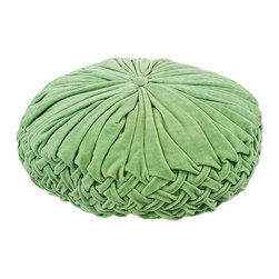 BrandWave - Velvet Rouched Round Pillow, Sage - Brighten up any couch or bed with the ruched velvet pillow collection. Ruching originates in France, and is a pleated, fluted or gathered piece of fabric, that we have used as the design for this pillow collection. These pillows are great for layering. With both square and round pillows, don't be afraid to mix and match your shapes and colors.