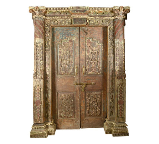 """Sierra Living Concepts - Royal Elizabethan Solid Teak Double Doors & Frame - The WOW factor is in regal overdrive with our elegant Royal Elizabethan Double Doors and Double Column Frame set. The ornate handmade entry way measures 66"""" long by 9' deep by 85"""" high. This Hand Carved Double Doors and Casing package is a piece of art and is built with solid teak wood. This premium hardwood has passed the test of time."""