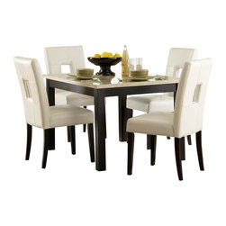 Homelegance - Homelegance Archstone 3 Piece 48 Inch Dining Room Set with White Chairs - Contemporary design, sleek seating and the combination of black finish with white accents are all the ingredients you need to create a stylish setting for exceptional dining. The white faux marble top pairs perfectly with a cut out center chair back, the color contrast and stylish design create a rich visual enhancement. Chairs are available in white bi-cast vinyl and black bi-cast vinyl.
