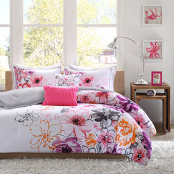ID-Intelligent Designs - Intelligent Design Cassidy 5-Piece Comforter Set - The Intelligent Design Cassidy Collection uses bright colors and an asymmetrical floral design to dazzle your space. Pops of pink,orange,grey and plum adorn one side of the comforter while the white base is featured on the opposite side.