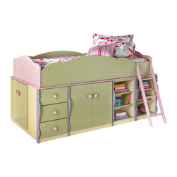 Signature Design by Ashley - Doll House Twin Loft Bed in Multi Colored Pastels - Seemingly pulled straight from the pages of a fairy tale, the enchanting beauty of the Doll House youth bedroom collection is sure to magically transform the atmosphere of any child's bedroom. Bathed in charming multi-colored pastel paints, the green, lavendar, pink, and yellow colors works together to create a dreamlike quality that will awaken any child's imagination. With the pink and yellow flower motif handles and the artistic traditional silhouette style, this collection resembles a finely crafted work of art that any child is sure to fall in love with. Give your child the bedroom they have been dreaming of with the imaginative quality of the Doll House youth bedroom collection.